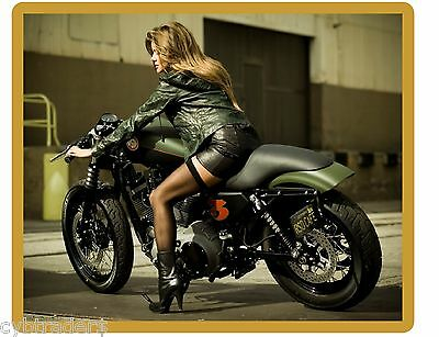 Sexy Pinup Motorcycle Girl In Heels  Refrigerator  / Tool Box Magnet Man Cave #6