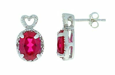 3 Ct Created Ruby & Diamond Oval Heart Stud Earrings White Gold Silver