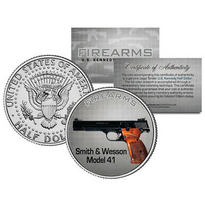 SMITH & WESSON MODEL 41 Gun Firearm JFK Kennedy Half Dollar US Colorized Coin