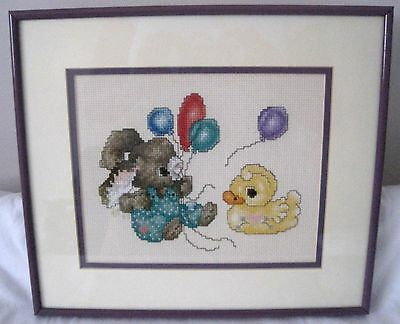 "Completed Framed Cross Stitch Rabbit Duck Balloon 11 3/4""x10 1/4"" Nursery Babies"