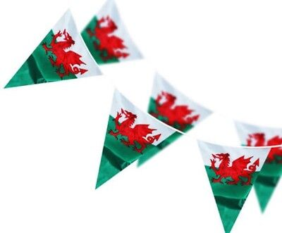 33Ft Wales Welsh Dragon Cymru Triangle Flags Bunting St Davids Day 6 Nations