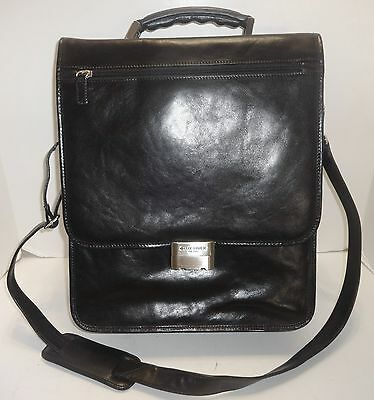 Day-Timer Black Italian Leather Briefcase Large Messenger Bag Combination Lock
