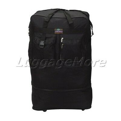 "40"" Black Large Rolling Wheeled Duffel Bag Spinner Suitcase Duffle Bag Luggage"