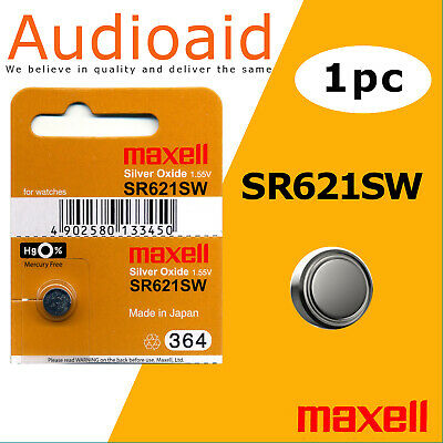 1Pc Sr621Sw (364) Genuine Maxell Silver Oxide Battery - Made In Japan (Not Fake)