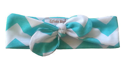 INFANT HEADBAND TEAL BLUE WHITE CHEVRON KNOTTED BOW HEADBAND BABY TODDLER