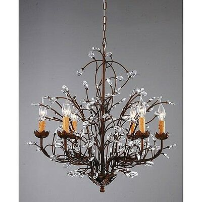 (BC206) Antique Bronze 6-light Crystal and Iron Chandelier