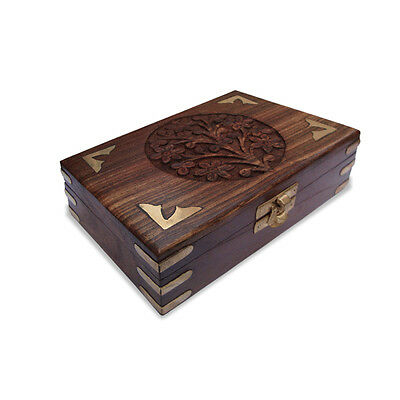 Beautiful Design Carving and Brass Engraving Wooden Box