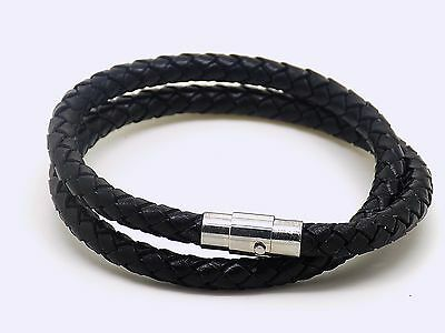 Mens real leather wrap around wristband bracelet stainless steel clasp