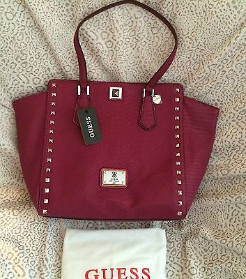 NWT Guess G Logo Purse Satchel Tote  Wine Dark Red Rosy  Python Faux Leather