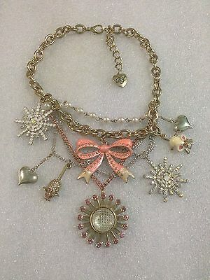 Betsey Johnson Winter Wonderland Snowflakes, Mouse, Hearts Necklace Rare
