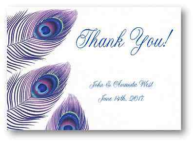 100 Personalized Custom Blue Peacock Feather 4 Bridal Wedding Thank You Cards