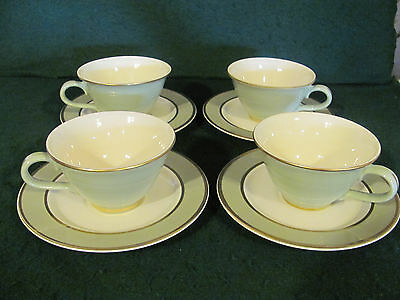 SET OF 4 TAYLOR SMITH &TAYLOR CLASSIC HERITAGE GREEN GOLD TRIM CUPS & SAUCERS