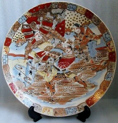 ANTIQUE JAPANESE SATSUMA UNSIGNED CHARGER PLATE WARRIORS IN FIGHT 1900!