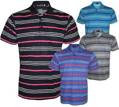 Men's Striped T-Shirts Loose Fit Pique Polo PolyCotton 1906 Casual Tops M to 5XL