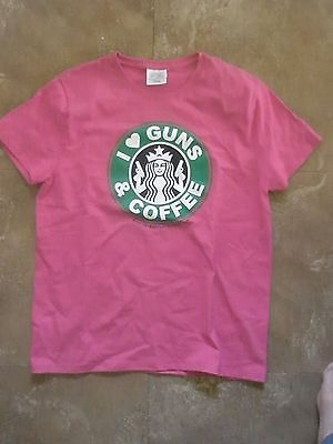 NOS I (HEART)  LOVE GUNS & COFFEE tee shirt. Womens size large t shirt Starbucks