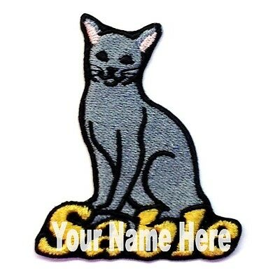 Russian Blue Cat Custom Iron-on Patch With Name Personalized Free