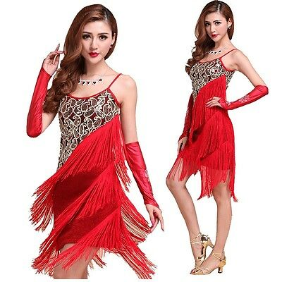 FLAPPER FRINGE 1920s 20s 30s GREAT GATSBY PARTY LATIN SEQUIN DRESS S M L