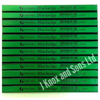 12 Rexel Blackedge Carpenters Pencil Hard Green Wood Marking Pencils Carpenter