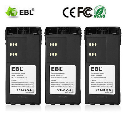 3x 2500mAh HNN9008 HNN9009 Ni-Mh Battery for MOTOROLA PRO5150 HT750 HT1250 Radio