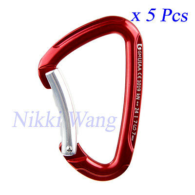 SALE 24KN Lot 5 Bent Gate Carabiner 5400LB For Outdoor Climbing Rescue Quickdraw