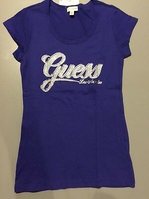 NEW NWT Womens GUESS T Shirt Embellished Abigail Tee Electricity S M L XL Purple
