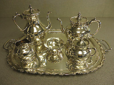 Mexican Sterling Silver Tea Set 5 Pieces with Tray