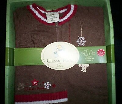 Classic Pooh Holiday Christmas 2Pc. SWEATER + HAT (CAP) Brown Set 3-6 Months NEW