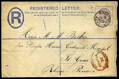 Registered 2d 1886 SG190 Rochester Kent CDS to Prussia Rhine
