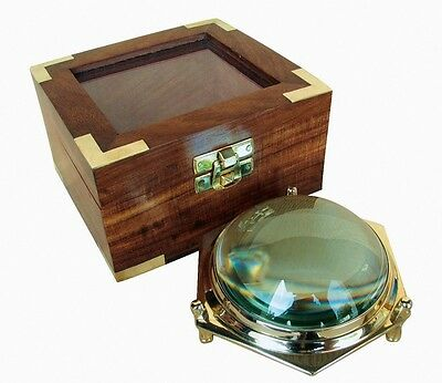 Maritime Dom Lupe XXL Messinggestell in Holz Box Karten-Lupe Lesehilfe - sc-9294