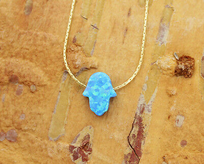 Hamsa opal charm necklace light blue small Hand of Fatima 14K gold filled chain