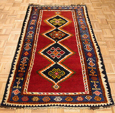 4x7 Antique Persian Oriental Gabbeh Tribal Hand Knotted Wool Red Area Rug Carpet