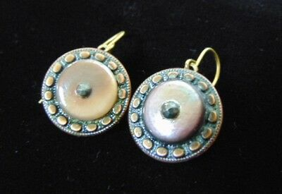 PAIR OF ANTIQUE VICTORIAN BUTTON EARRINGS, CIRCA 1880 - 1890, 6.7g  E1352