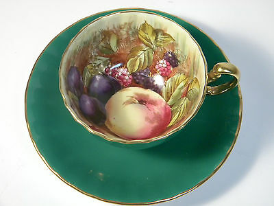 AYNSLEY Kelly Green  Orchard Fruit Teacup & Saucer Signed D JONES ca 1930's