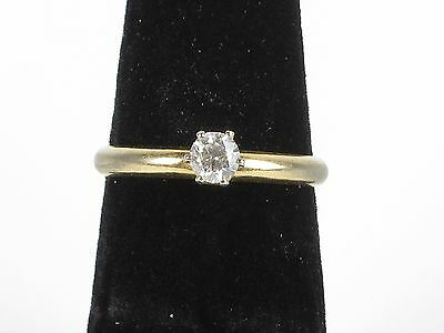 Vintage estate costume ladies engagement ring solitaire gold tone size 6.75