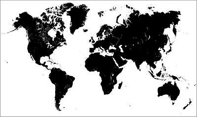 BLANK WORLD MAP GLOSSY POSTER PICTURE PHOTO globe countries