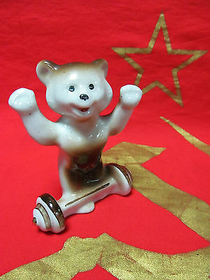 Russian Soviet Porcelain figurine Bear symbol Moscow Olympic Games weightlifting