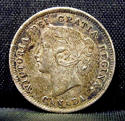 1871 Canada 5C Piece ✪ Au Almost Uncirculated ✪ L@@k Now Silver G3 ◢Trusted◣