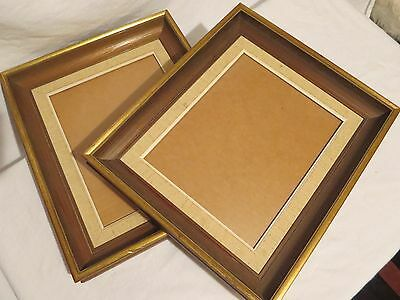 2 Matching 8x10 Wooden Frames with Gold Leaf Detail - made in Sweden