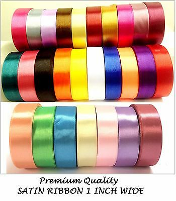 25 Rolls Satin Ribbon 25mm wide 1 inch Most basic Demanding Art Craft Job Lot