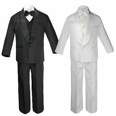 Baby Toddler Teen Boys Wedding Formal Shawl Lapel Suits Tuxedos Black White S-20