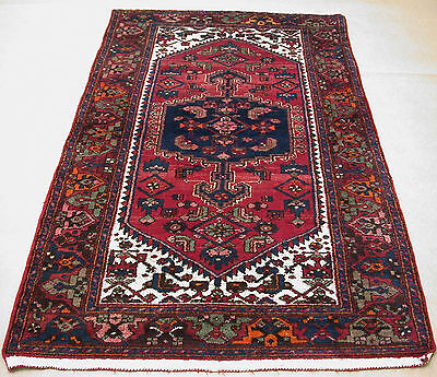 4x7 Persian Oriental Nahavand Hand Knotted Tribal Red Blue Wool Area Rug Carpet
