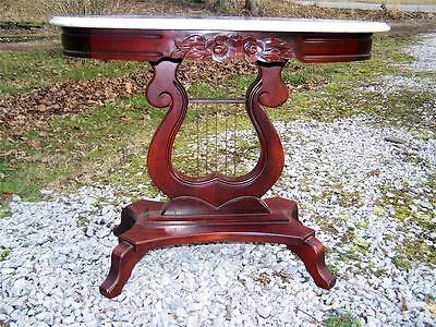VTG Kimball Victorian Style Italian Marble Oval Top Lyre Base Lamp Table 1 of 2