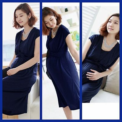 Sale Bnwt Navy Blue Maternity Breastfeeding Nursing Midi Dress Size 12 14 16 18