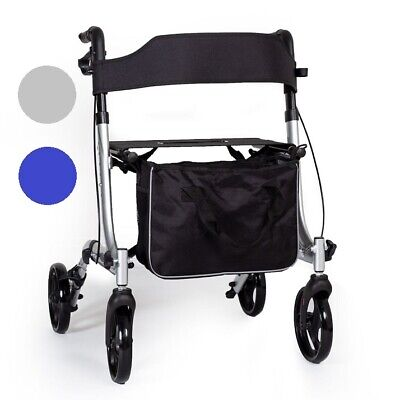 EC X Fold Lightweight folding 4 wheel rollator walking frame with seat and bag