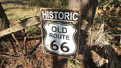 "Route 66 Historic Nostalgic Weathered Tin Wall Decor Sign With ""Bullet Holes"""