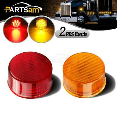 2x Amber & 2 Red Round 2inch Side Marker Light Front/Rear Trailer Light 9leds/pc