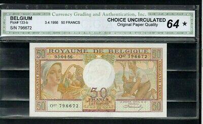 BELGIUM Europe 50 Francs Choice UNC 1956 p-133b Graded 64