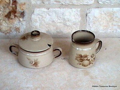 Denby Memories Sugar Bowl w/lid & Creamer Handcrafted Stoneware Brown Tan Floral