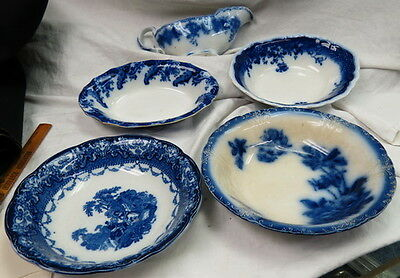 5 pc box lot 1800s english flow blue / 2 oval bowls / 2 round vegetable 1 gravy