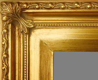 "PICTURE FRAME WOOD GOLD ORNATE SWIRL PORTRAIT PHOTO ART WEDDING 2.25"" WIDE"